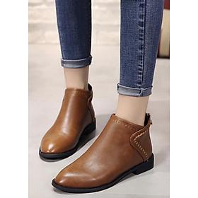 Boot cổ ngắn mũi nhọn màu da bò THỜI THƯỢNG GBN9102