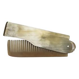Lược Chải Tóc Gấp Đôi  L02 Sừng Bò Châu Phi (Dài 16cm x 2cm)