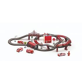 Đồ chơi Bộ đồ chơi lắp ráp đường ray và xe lửa chạy pin: set cứu hỏa VECTO AU6883AB