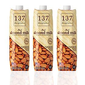 Combo 3 Hộp Sữa Hạt Hạnh Nhân Nguyên Chất 1000ml 137 Degrees Không Đường