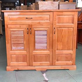 Tủ giày dép gỗ thông hiện đại ngang 1m2 - màu nâu