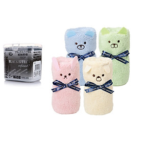 Combo 01 Hộp tăm bông lấy ráy tai Than hoạt tính 180P + 01 Khăn tắm cotton mềm hình gấu (Giao màu ngẫu nhiên) - Nội địa Nhật Bản