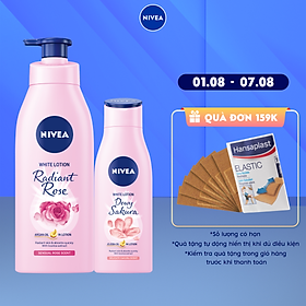 [Mua 1 tặng 1] Tặng Dewy Sakura 200ml - Sữa Dưỡng Thể Dưỡng Trắng NIVEA Hương Hoa Hồng Radiant Rose (350ml) - 85707