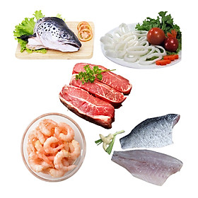 Combo 21: 1 cái đầu cá hồi + 500gr mực cắt khoanh + 500gr lõi vai bò Úc cắt lát + 500gr tôm nõn hấp size nhỏ + 500gr cá chẽm fillet