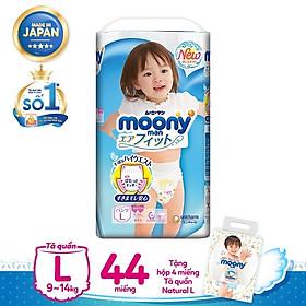 Tã quần L Girl 44 miếng tặng Hộp 4 miếng Tã quần Moony Natural L