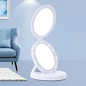 Gương Trang Điểm 2 Mặt Có Đèn LED Phóng To