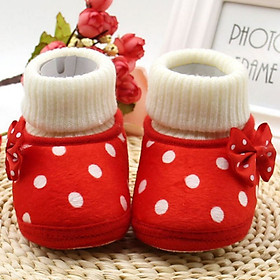 Autumn Newborn Baby Girl Bow Knot Fleece Snow Boots Booties White Princess Shoes