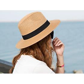 Mũ phớt nữ phong cách Hàn mới, nón phớt cói nữ màu vàng hung