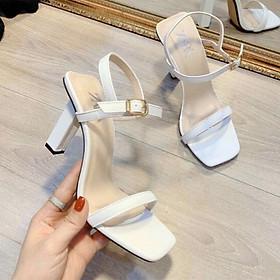 Giày cao gót nữ quai mảnh thời trang - Giày sandal cao gót nữ gót trụ vuông cao 7cm - Giày nữ da mềm 2 màu Trắng và Đen - Linus LN231