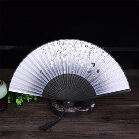 Quạt cổ trang dây tuyến nền xám hoa tuyết rơi ver 2 quạt trúc xếp cầm tay phong cách Trung Quốc in hoa trang trí