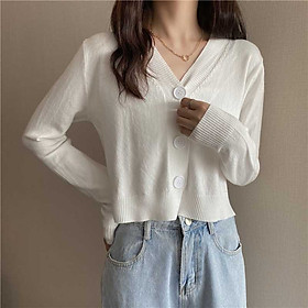 Early autumn Korean version of v-neck short knit cardigan long sleeve top all-match