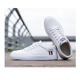 Giày thể thao nam cổ thấp sneaker màu trắng