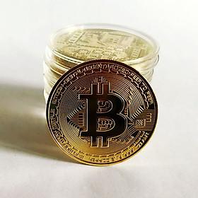 Đồng Xu Bitcoin Lưu Niệm Mạ Vàng Chất Lượng UNC