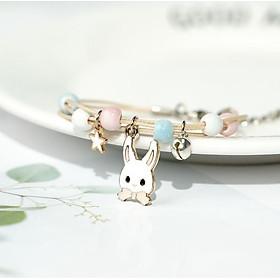 Vòng tay gốm xanh trắng hồng gắn thỏ cà rốt cầu vồng chìa khóa lăc tay nữ tặng ảnh Vcone