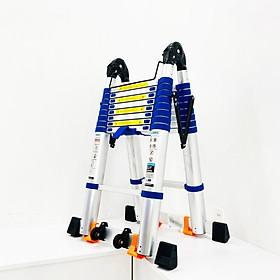Thang Nhôm Rút Chữ A JUMBO A280B - Đai xanh, chữ A cao 2.8m, chữ I cao 5.6m, tải trọng 300kg