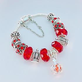 Vòng tay lắc tay nữ charm đỏ sang chảnh hợp kim mạ bạc cao cấp đủ size 16 - 20 cm