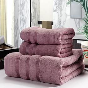 Combo 3 Khăn siêu thấm chất liệu 100 cotton,1 khăn tắm lớn 70x140 + 2 khăn mặt 34x75-0200