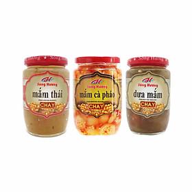 Combo 1 Hũ Mắm Thái Chay 430g + 1 Hũ Mắm Cà Pháo Chay 390g + 1 Hũ Dưa Mắm Chay 430g Sông Hương Foods