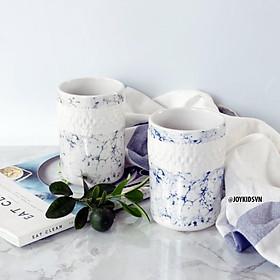Ly gốm vân đá marble   Cốc gốm đựng bút để bàn   Ca uống nước marble - Marble ceramic mug