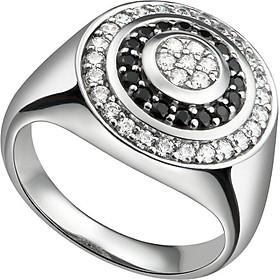 Nhẫn bạc nam PNJSilver đính đá màu đen 92527.403-BO