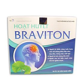 Hoạt huyết dưỡng não BRAVITON Giảm đau đầu, hoa mắt, chóng mặt, mất ngủ, mệt mỏi, suy giảm trí nhớ - Hộp 100 viên sử dụng 50 ngày, thành phần Ginkgo 180mg, Lạc tiên, Tâm sen, Đinh lăng, Cây nữ lang