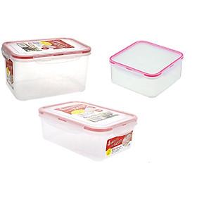 Combo 3 hộp nhựa trong đựng thực phẩm Inomata - Hàng nội địa Nhật Bản