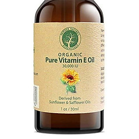 Vitamin E Oil PURE Organic d-alpha tocopherol 30,000 IU - 1 Ounce, Derived from non-GMO Sunflower/Safflower Oil, Soy-Free and Wheat-Free. Add to your Natural Skin Remedies. Perfect with Shea Butter.