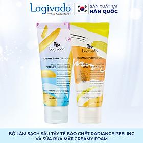 Bộ đôi làm sạch sâu Tẩy tế bào chết Hàn Quốc Lagivado Radiance Peeling 50 ml và sữa rửa mặt Creamy Foam 50ml.