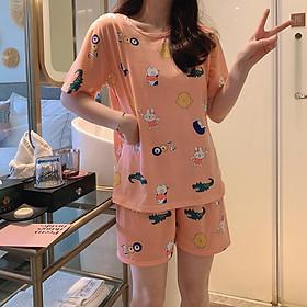 Set đồ mặc ở nhà, bộ ngủ chât đẹp cho nữ, vải cotton, mềm, rộng, thoáng mát họa tiết hoa quả cực dễ thương freesize<56kg