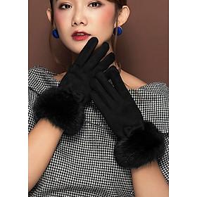 Găng tay nỉ nữ cổ lông BH6625