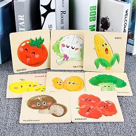 Combo 8 tranh ghép chủ đề rau quả  bằng gỗ an toàn cho bé