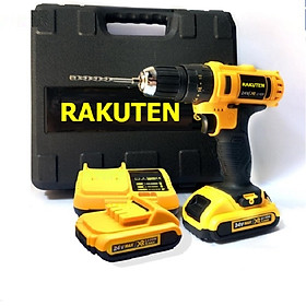 Bộ máy khoan pin RAKUTEN 24V  khoan tường, khoan sắt, khoan bê tông máy 2 pin, đảo chiều và mũi khoan