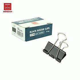 Kẹp bướm, kẹp giấy đen Hồng Hà 15mm 6632 (hộp 12 chiếc)