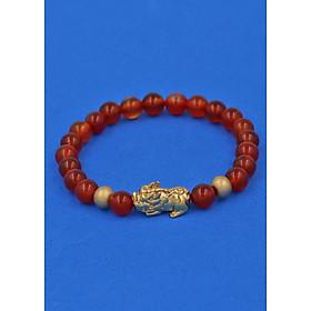 Vòng đeo tay đá Mã Não đỏ 6 ly cẩn Tỳ Hưu inox vàng VMNOTHHBV6 - hợp mệnh Hỏa, mệnh Thổ