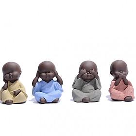 Bộ 4 tượng chú tiểu tứ không bằng gốm cát tím