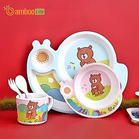 Bộ khay ăn dặm sợi tre Bamboo Life cho bé BL028 gồm 5 chi tiết hàng chính hãng Bộ bát chén ăn dặm cho bé Đồ dùng ăn dặm cho bé