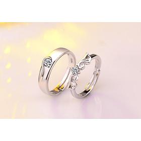 Cặp nhẫn Đôi cánh thiên thần đính pha lê - Trang sức bạc Panmila [ ND.A9 ]