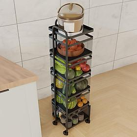 Kệ vuông đa năng 5 tầng đựng rau củ quả và đồ gia dụng,di chuyển xoay 360*, dễ dàng lắp đặt