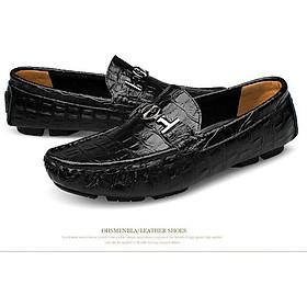 Giày lười nam, giày mọi nam da bò cao cấp - Thiết kế lịch lãm TOPEE TGL05 (Đen)