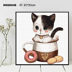 BST Tranh số hoá tự tô màu theo số - Tranh động vật thú cưng mèo con cute dễ thương ngộ nghĩnh HH2004