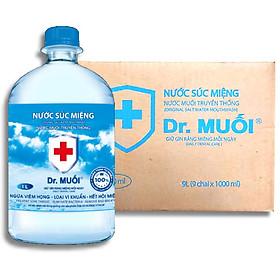 Thùng Nước Súc Miệng Dr. Muối Đủ Mùi 1000ml (9 chai) - Hàng Chính Hãng