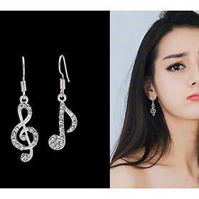 Bông tai khuyên tai thời trang Hàn Quốc hình nốt nhạc đính kim cương giả