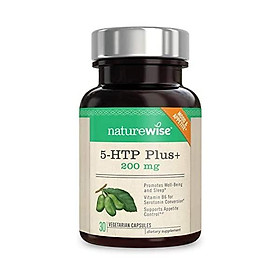NatureWise 5-HTP Max Potency 200mg | Mood Support, Natural Sleep Aid & Helps Curb Appetite | Delayed Release Capsules Easy on The Stomach | Enhanced w/ Vitamin B6 | Non-GMO [1 Month Supply - 30 Count]