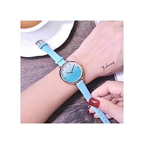 Đồng hồ nữ dây da mặt chuyển màu kim tuyến thời trang (có Video)