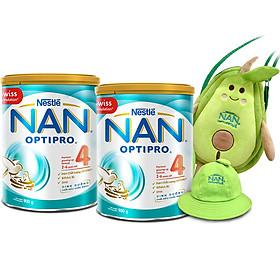 Combo 2 Lon Sữa Bột Nestlé NAN OPTIPRO 4 900g - Tặng bộ nón và túi hình trái bơ