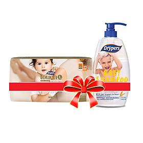 [combo] Tã dán Drypers Touch L 34 miếng (9 - 14kg) + Dầu gội Drypers 750ml