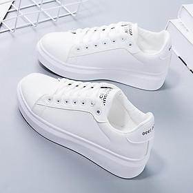 Giày thể thao nữ - giày sneaker nữ mầu trắng đế cao ST008W