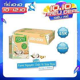 Thùng Sữa Đậu Nành Fami Nguyên Chất Vị Sữa Dừa (200ml x 36 Hộp)
