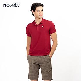 Áo thun Polo trơn màu đỏ đô in họa tiết ngực NOVELTY 191169N