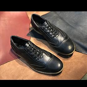 Giày Tây Nam buộc dây da bò mộc màu đen nguyên tấm dáng thể thao Made in Viet Nam, thiết kế thời trang, trẻ khỏe phù hợp phong cách hiện đại năng động LT005 Sr7, càng đi càng mềm, càng đi càng êm chân